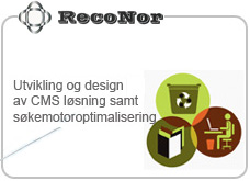 cms løsning for reconor as, samt custom designet side